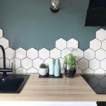 Hexagon White Tile Backsplash With Black Grouts