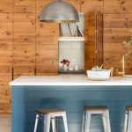Huge Pendant Lamps In Modern Rustic Style White Top Kitchen Island With Blue Shade For Base Gray Stools Flat Surface Wood Cabinets