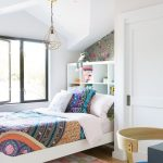Kid's Bedroom With Black Framed Glass Window White Bed Frame With Shelves Headboard Modern Industrial Pendant Poppy Colored Rug