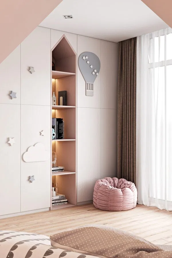 kid's room with recessed shelving unit corner pouffe in pink light wood floors double layered draperies