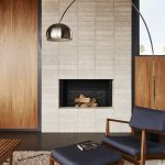 Midcentury Modern Chair And Table With Dark Cushion Addition Modern Fireplace Shag Rug With Modern Pattern