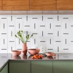 Minimalist Kitchen Design With White Backsplash With Black Lining Accents Green Olive Cabinets