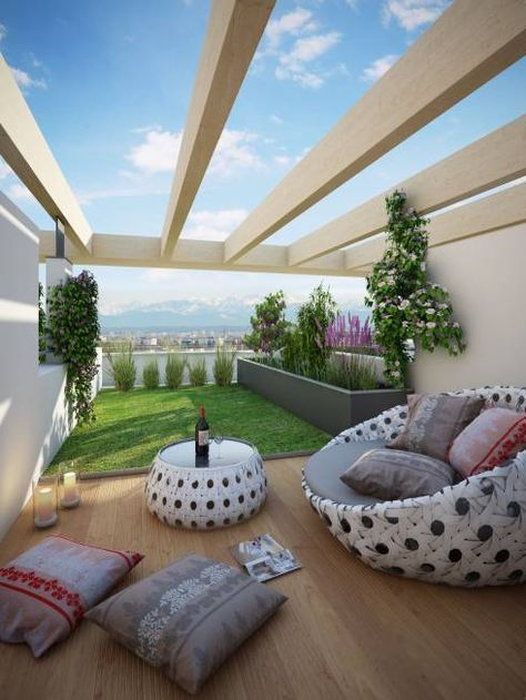 modern backyard design with egg chair with accent pillows modern table with round glass top floor pillows light wood floors
