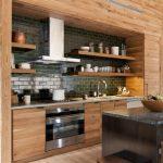 Open Concept Kitchen Design With Black Marble Top Kitchen Island Black Tiled Backsplash Open Wood Shelves