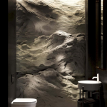 Rough Wallpaper In White With Dramatic Light Effect Wall Mounted Toilet In White Free Standing Bathroom Sink