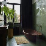 Sage Bathroom Walls Dark Green Concrete Floors Dark Brown Bathtub Soft Bathroom Mat