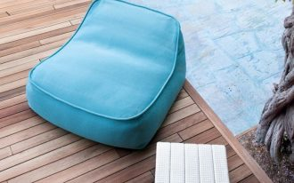 simple floor cushion for outdoor in blue cool white table