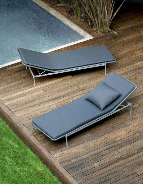 simple reclining chair in dark gray for outdoor area