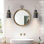 Bathroom Vanity Lamps In Black Round Mirror With Gold Frame White Sink Subway Tile Backsplash In White