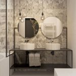 Beautiful Industrial Bathroom With A Couple Of Round Mirrors Without Frames A Couple Of White Sinks Black Bathroom Vanity With Under Shelf Industrial Pendants Raw Concrete Walls
