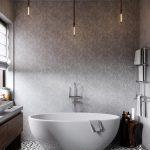 Industrial Bathroom Inspiration With Minimalist White Bathtub Warm And Classic Wallpaper Vintage Tile Floors