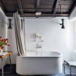 Luxurious Bathroom Inspiration With White Bathtub Dramatic White Shower Curtains Monochromatic Runner