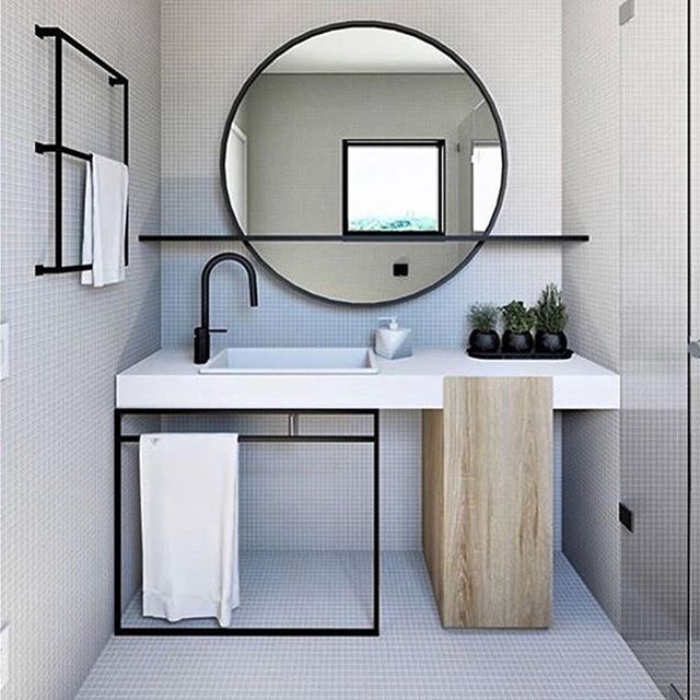 minimalist black white bathroom vanity