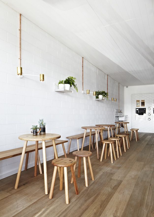 minimalist coffee shop interior with white subway tile walls highlighted with brass finish wall sconces and white potted greenery natural wood furniure set wood floors