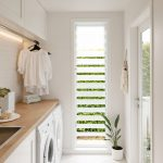 Minimalist Stylish Laundry Room With Wood Top Counter Glass Windows With Opened Sections White Hexagon Tile Floors