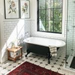Modern Bathroom Design With Black Clawfoot Tub Subway Ceramic Tile Walls White Tile Floors With Geometric Patterns Industrial Style Glass Window