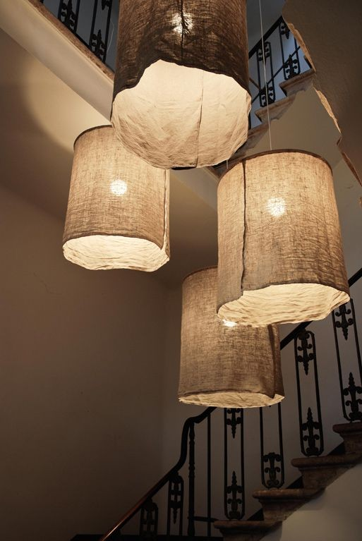 oversized pendants with cloth lampshades