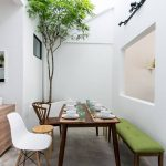 Semi Outdoor Dining Space With Dark Wood Dining Table Dark Wood Dining Chair Wooden Stool Midcentury Modern Chair In White Bench Seat With Green Cushion
