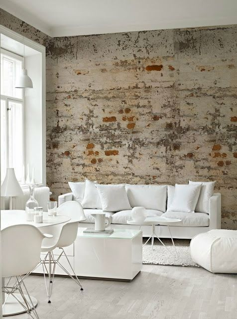 white living room with pure white furniture set shabby walls