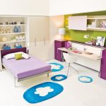 Beautiful Bed room Chair In Fashionable Model Interior Bedroom Including Blue Floral Rug On Ground Additionally Purple Drawer Desk Beside Desk plus Green Painting Wall