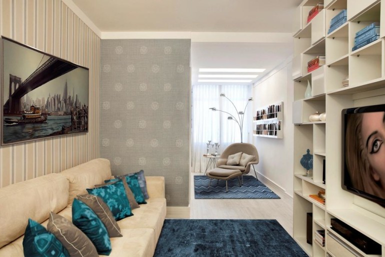 Beautiful Small Residing Room Inside Design With Cushions On Beige Sofa As Well Blue Rug