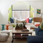 Colourful Living Room Powerful Decorating Concepts With Blue Cloth Couch Plus Inexperienced Cushions As Effectively Picket Table On Buffy Rug Including Seat Window Concepts