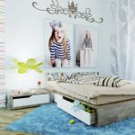Comfort Teen Bed room Decorating Ideas With Blue Fur Rug Underneath The Bed As Well Toys Shelves Below The Mattress As Properly Picture Frame On The barrier plus Distinctive Lamp Desk.