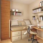 Comfy Bedroom Chair In Fashionable Model Plus Picket Desk Together with Drawer Chest Under The Mattress Together with Inventive Bookcase On The Wall