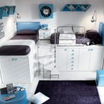Cute Teen Bed room Concepts With White and Black Loft Double Bed plus Black Rug The Center As Effectively Storage Under The Bed As Nicely Shaded square Window