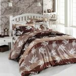 Divine-Brown-Fabric-Mattress-Cover-With-Floral-Pattern-And-White-Wooden-Polished-Bedstead-Also-Tiny-Facet-Desk-Alongside-With-Inspiring-Wallpaper-and-Candy-Wall-Lamp-Concepts-For-Scandinavian-Rest-room-Design