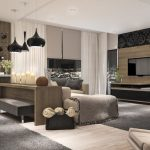 Fantastic Living Room Highly Effective Design Concepts With Elegant Pendant Lamp Picket Table Beside Sofa Additionally Wine Cabinets On Wood Wall Vanity Cupboard Plus Grey Fur Rug On Ground