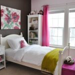 Minimalist Teen Bedroom Decorating Ideas With White Wooden Furniture And Pink Curtain In Glass Window As Well Flower Frame On The Wall And White Bedding