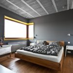 Nice-Contemporary-Bed-room-Design-Showcasing-Natural-Wood-Bed-In-Scandinavian-Type-And-Classic-Wood-Rocking-Crib-Also-Gray-Wall-Paint-plus-Concrete-Ceiling-Along-With-Hardwood-Floor-Concepts