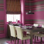 Rustic Violet Striped Eating Area Paint Colour Thought With Spherical Pendant Lamp Above Darkish Wooden Dining Desk And White Leather Chair with violet Fur Rug