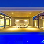 amazing Swimming Pool decorations With Blue light also blue water In Ceiling patio