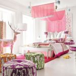 beautiful Woman Teen Bedroom Adorning Ideas With From Cute Colour Of The Furnishings As Nicely Floral Stained Wardrobe plus Pink Canopy Mattress And fur Rug Including Colourful Chair
