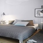 bed-room-white-scandinavian-bed-design-with-gray-embossed-mattress-cover-nice-spotlighted-gray-metallic-framed-lamps-scandinavian-mattress-designs-and-models