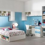comfy Teen Bedroom Decorating Concepts With Blue Furnishings Set plus modern Study Desk Additionally Lamp Desk As Well Wooden Laminate Ground