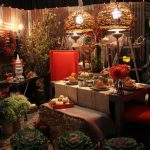 dining area with gardening niche plantation for dining area big size red dining chair dining wooden table