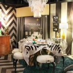 dining room with elegant style unique white dining chair wooden minibar wallpaper with zig zag pattern