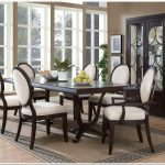 elegan dining set dark brown laminated dining table brown wooden dining chair glasses bay window brown dining area rub laminated wooden flooring