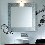 little Bathroom decor With grey Square Bathroom Mirrors Frame Hold On Flowered Wall Decal Has Brown Picket Cupboard wash basin The Prime As Nicely Wall Lamp on The Mirror