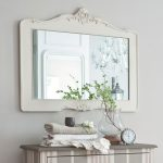 Luxury White Wooden Elegant Bathroom Mirrors Body With Picket Cupboard Design Additionally Striped Portray And Little Clock On The Self Importance On Flower Vase