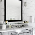 modern Restroom Square Mirrors Concepts On White beautiful Ceramic Wall With White elegant Marble Countertop Completed Single wash basin metal Ideas