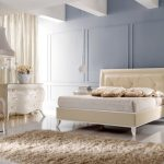 wonderful cream Bed room Chair In Trendy Type Beside Lamp Standing On Flooring Additionally Drawer Self-importance Beside Curtain plus Beige Fur Rug Plus Headboard Additionally Blue Wall Paint