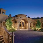 Amazing villa lanscape with elegant building stoned wall