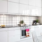 Ceramics Tile Backsplash On Superior Small Galley Kitchen Design also Hollow Chair Sleek White Cabinets