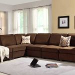 Classic Brown coloured Sofa Set In Modern Dwelling area With Frame On The grey Portray Wall Also Rug On Floor as well as Glass Window In The Nearby