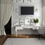 Cool White Picket Vainness And Mirror Together with White Rug On Hardwood Flooring Along With White Picket Wall Panel Decor Elegant Bedroom Curtain Design With Television Setup On Gray Floral Wallpaper