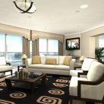 Elegant Home Design With Glasses Desk Black Fur Rug Including White Sofa Lighting In Ceiling Additionally Grey Curtain Huge Square Glasses Window